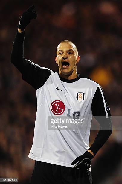 Bobby Zamora of Fulham calls for the ball during the UEFA Europa League quarter final first leg match between Fulham and Vfl Wolfsburg at Craven...