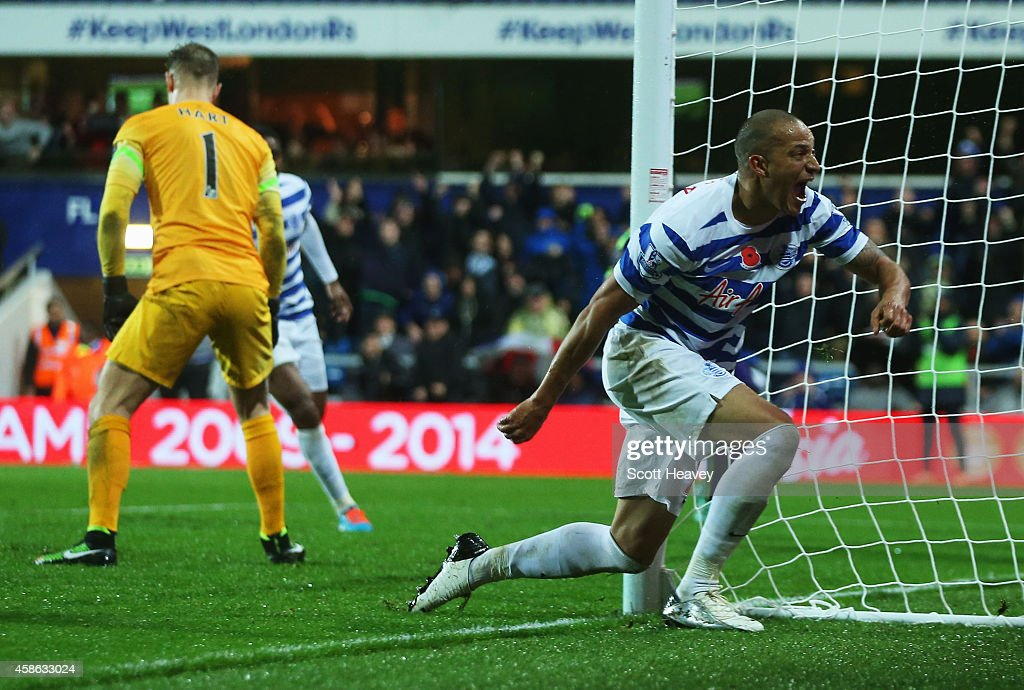 <a gi-track='captionPersonalityLinkClicked' href=/galleries/search?phrase=Bobby+Zamora&family=editorial&specificpeople=207020 ng-click='$event.stopPropagation()'>Bobby Zamora</a> of QPR celebrates as Martin Demichelis of Manchester City (not pictured) scores an own goal for QPR's second goal during the Barclays Premier League match between Queens Park Rangers and Manchester City at Loftus Road on November 8, 2014 in London, England.