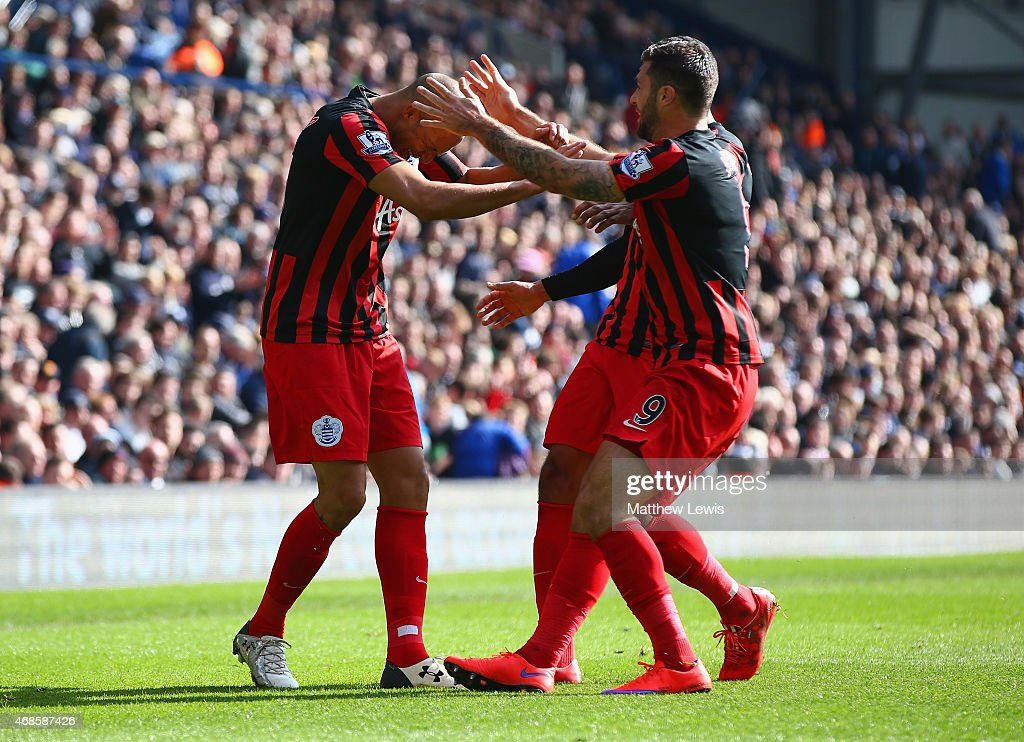 <a gi-track='captionPersonalityLinkClicked' href=/galleries/search?phrase=Bobby+Zamora&family=editorial&specificpeople=207020 ng-click='$event.stopPropagation()'>Bobby Zamora</a> of QPR (L) celebrates scoring their third goal with <a gi-track='captionPersonalityLinkClicked' href=/galleries/search?phrase=Charlie+Austin+-+Soccer+Player&family=editorial&specificpeople=12899527 ng-click='$event.stopPropagation()'>Charlie Austin</a> of QPR during the Barclays Premier league match West Bromwich Albion and Queens Park Rangers at The Hawthorns on April 4, 2015 in West Bromwich, England.