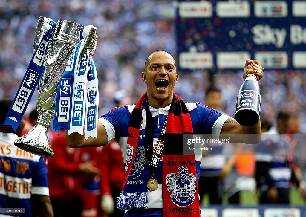 <a gi-track='captionPersonalityLinkClicked' href=/galleries/search?phrase=Bobby+Zamora&family=editorial&specificpeople=207020 ng-click='$event.stopPropagation()'>Bobby Zamora</a> of QPR celebrates with the trophy after the Sky Bet Championship Playoff Final match between Derby County and Queens Park Rangers at Wembley Stadium on May 24, 2014 in London, England.