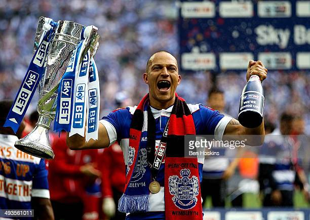 Bobby Zamora of QPR celebrates with the trophy after the Sky Bet Championship Playoff Final match between Derby County and Queens Park Rangers at...