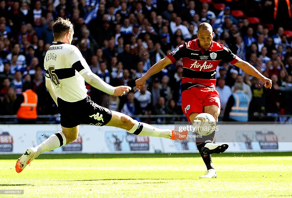 <a gi-track='captionPersonalityLinkClicked' href=/galleries/search?phrase=Bobby+Zamora&family=editorial&specificpeople=207020 ng-click='$event.stopPropagation()'>Bobby Zamora</a> of QPR scores the winning goal during the Sky Bet Championship Playoff Final match between Derby County and Queens Park Rangers at Wembley Stadium on May 24, 2014 in London, England.