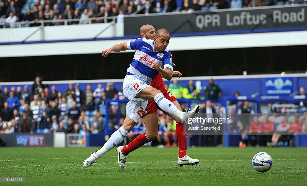 <a gi-track='captionPersonalityLinkClicked' href=/galleries/search?phrase=Bobby+Zamora&family=editorial&specificpeople=207020 ng-click='$event.stopPropagation()'>Bobby Zamora</a> of Queens Park Rangers scores their 5th goal during the Sky Bet Championship match between Queens Park Rangers and Nottingham Forest at Loftus Road on April 12, 2014 in London, England.