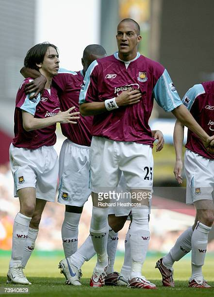 Bobby Zamora of West Ham United celebrates scoring the first goal during the Barclays Premiership match between West Ham United and Everton at Upton...