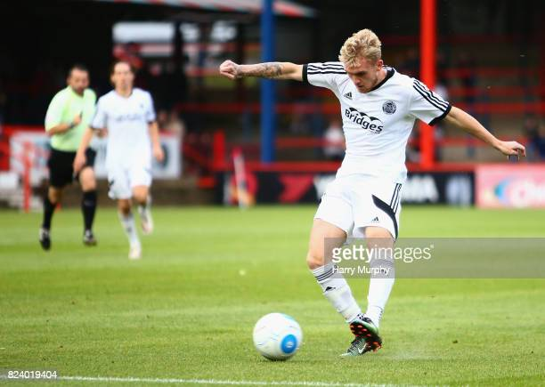 BobbyJoe Taylor of Aldershot Town scores his teams first goal during the PreSeason Friendly match between Aldershot Town and AFC Wimbledon on July 28...