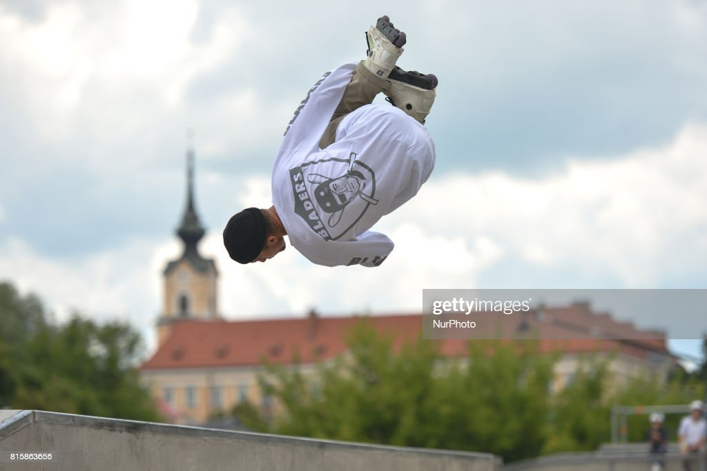 Bobi Spassov during the final of Rollerblading competition, on the final day of Carpatia Extreme Festival 2017, in Rzeszow. On Sunday, July 16, 2017, in Rzeszow, Poland.