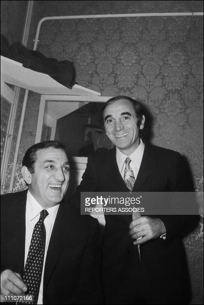 Bobino Charles Aznavour Charles Aznavour And Lino Ventura In Paris France On January 14 1969