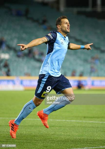 Bobo of Sydney celebrates scoring a goal during the round two ALeague match between Sydney FC and the Wellington Phoenix at Allianz Stadium on...