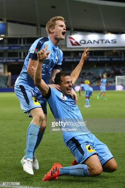 Bobo of Sydney celebrates the match winning goal in extra time with Matt Simon during the FFA Cup Final match between Sydney FC and Adelaide United...