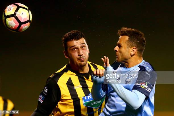 Bobo of Sydney FC and a player of the Wanderers challenge for the ball during the 2017 Johnny Warren Challenge match between Sydney FC and Earlwood...