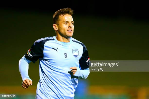 Bobo of Sydney FC celebrates his goal during the 2017 Johnny Warren Challenge match between Sydney FC and Earlwood Wanderers at Leichhardt Oval on...
