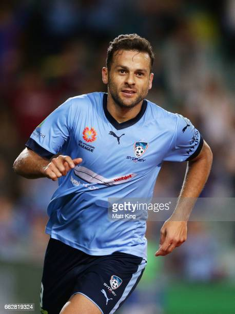Bobo of Sydney FC celebrates scoring his second goal during the round 25 ALeague match between Sydney FC and Melbourne City FC at Allianz Stadium on...