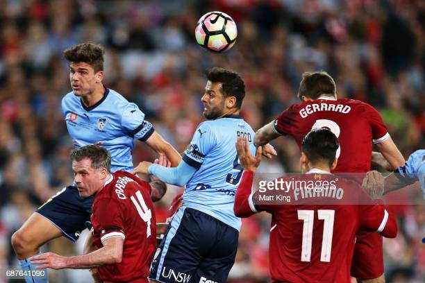 Bobo of Sydney FC heads the ball during the International Friendly match between Sydney FC and Liverpool FC at ANZ Stadium on May 24 2017 in Sydney...