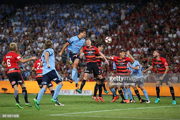 Bobo of Sydney FC heads the ball during the round 15 ALeague match between Sydney FC and the Western Sydney Wanderers at Allianz Stadium on January...