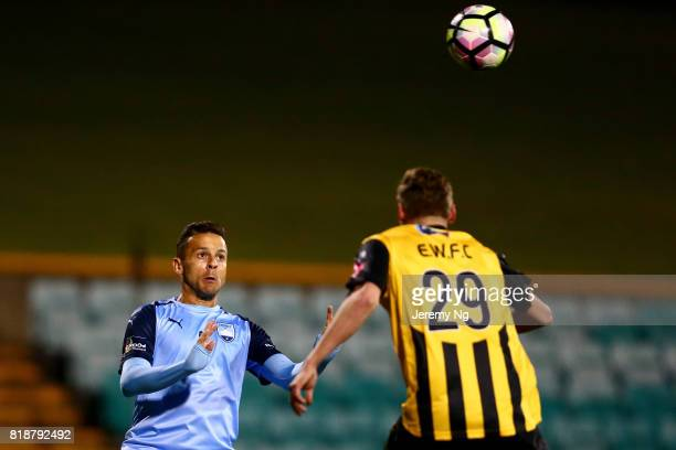 Bobo of Sydney FC prepares to head the ball during the 2017 Johnny Warren Challenge match between Sydney FC and Earlwood Wanderers at Leichhardt Oval...