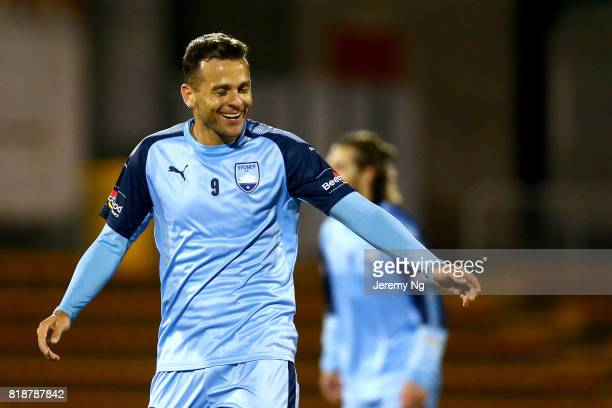 Bobo of Sydney FC smiles and celebrates his goal during the 2017 Johnny Warren Challenge match between Sydney FC and Earlwood Wanderers at Leichhardt...