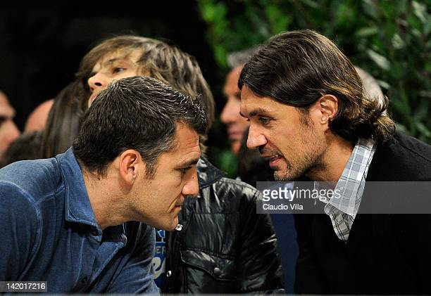 Bobo Vieri and Paolo Maldini during the UEFA Champions League quarter final first leg match between AC Milan and Barcelona at Stadio Giuseppe Meazza...