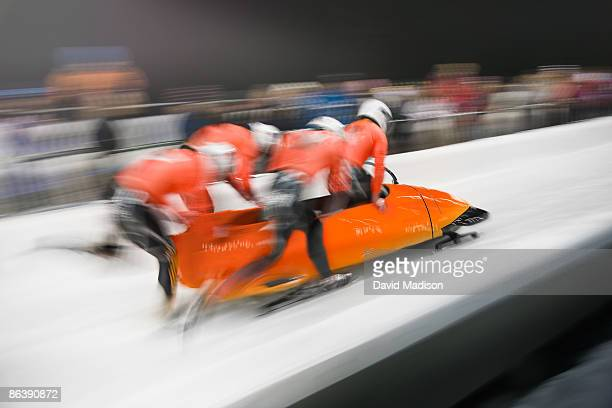 Bobsled competition start.