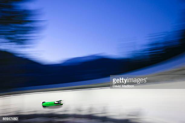 Bobsled on track with Motion blur.