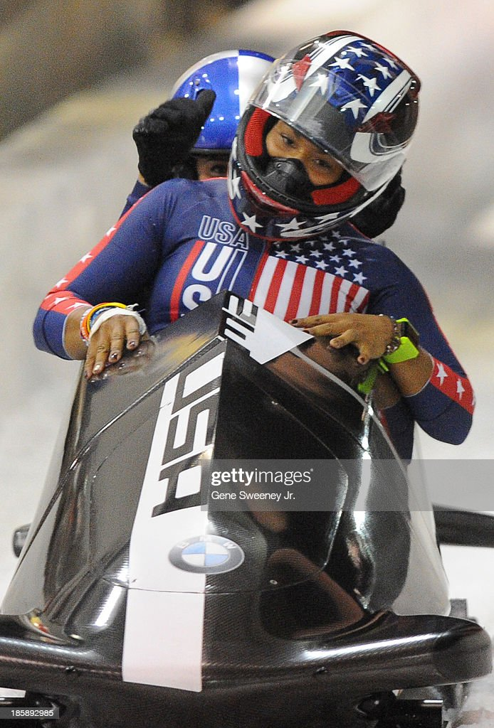 USA bobsled pilot <a gi-track='captionPersonalityLinkClicked' href=/galleries/search?phrase=Jazmine+Fenlator&family=editorial&specificpeople=9988437 ng-click='$event.stopPropagation()'>Jazmine Fenlator</a> reacts as she and her brakewoman Lolo Jones finish their second run during the selection runs at the Utah Olympic Park October 25, 2013 in Park City, Utah. Their combined two-run time of 1:39.92 placed the pair third.