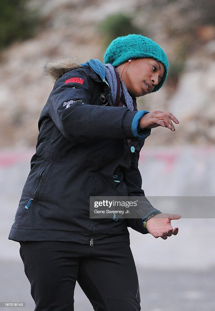 USA bobsled team pilot <a gi-track='captionPersonalityLinkClicked' href=/galleries/search?phrase=Jazmine+Fenlator&family=editorial&specificpeople=9988437 ng-click='$event.stopPropagation()'>Jazmine Fenlator</a> is visualizing the turns before the start of her selection runs at the Utah Olympic Park October 25, 2013 in Park City, Utah.