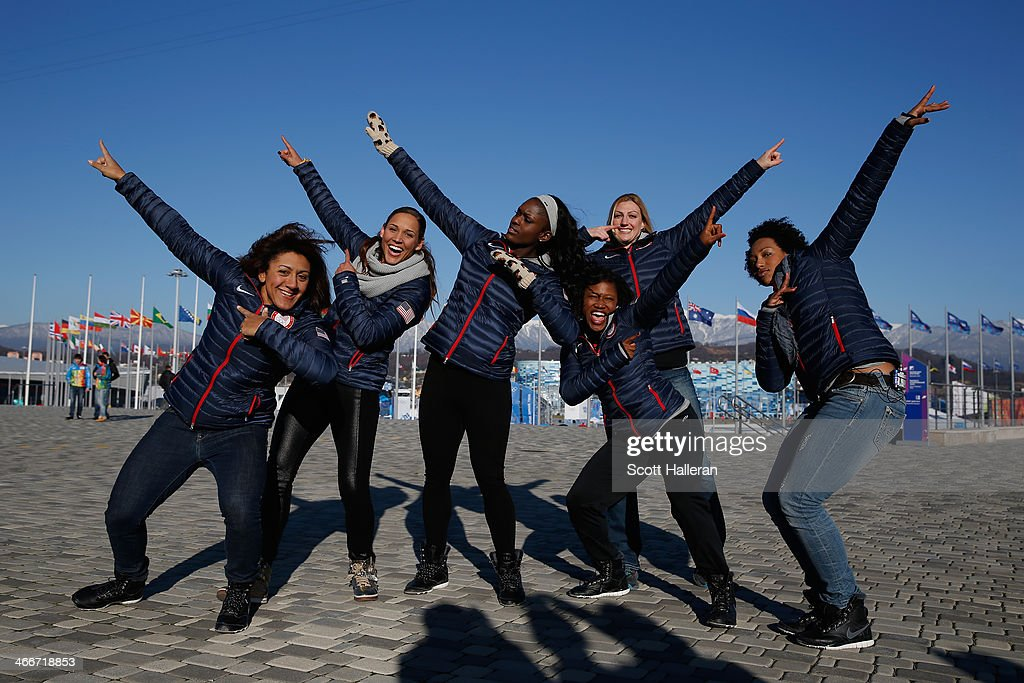 Bobsledders <a gi-track='captionPersonalityLinkClicked' href=/galleries/search?phrase=Elana+Meyers&family=editorial&specificpeople=5631239 ng-click='$event.stopPropagation()'>Elana Meyers</a>, Lolo Jones, <a gi-track='captionPersonalityLinkClicked' href=/galleries/search?phrase=Aja+Evans&family=editorial&specificpeople=4068934 ng-click='$event.stopPropagation()'>Aja Evans</a>, <a gi-track='captionPersonalityLinkClicked' href=/galleries/search?phrase=Lauryn+Williams&family=editorial&specificpeople=204367 ng-click='$event.stopPropagation()'>Lauryn Williams</a>, <a gi-track='captionPersonalityLinkClicked' href=/galleries/search?phrase=Jamie+Greubel&family=editorial&specificpeople=6680685 ng-click='$event.stopPropagation()'>Jamie Greubel</a> and <a gi-track='captionPersonalityLinkClicked' href=/galleries/search?phrase=Jazmine+Fenlator&family=editorial&specificpeople=9988437 ng-click='$event.stopPropagation()'>Jazmine Fenlator</a> of the United States visit the set of The Today Show ahead of the 2014 Winter Olympics in the Olympic Park on February 3, 2014 in Sochi, Russia.