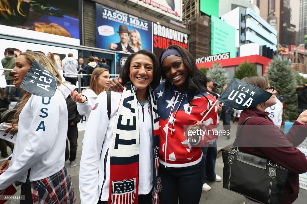 Bobsledders Elana Meyers Taylor and Aja Evans attend the 100 Days Out 2018 PyeongChang Winter Olympics Celebration - Team USA in Times Square on November 1, 2017 in New York City.