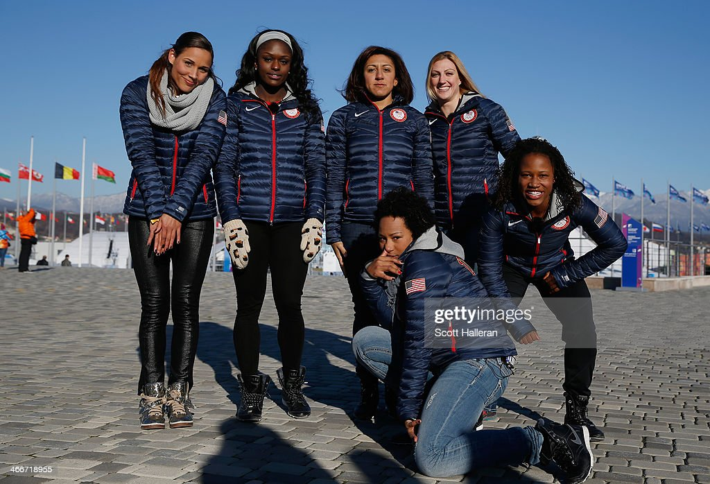 Bobsledders Lolo Jones, <a gi-track='captionPersonalityLinkClicked' href=/galleries/search?phrase=Aja+Evans&family=editorial&specificpeople=4068934 ng-click='$event.stopPropagation()'>Aja Evans</a>, <a gi-track='captionPersonalityLinkClicked' href=/galleries/search?phrase=Elana+Meyers+-+Bobsledder&family=editorial&specificpeople=5631239 ng-click='$event.stopPropagation()'>Elana Meyers</a>, <a gi-track='captionPersonalityLinkClicked' href=/galleries/search?phrase=Jazmine+Fenlator&family=editorial&specificpeople=9988437 ng-click='$event.stopPropagation()'>Jazmine Fenlator</a>, <a gi-track='captionPersonalityLinkClicked' href=/galleries/search?phrase=Jamie+Greubel&family=editorial&specificpeople=6680685 ng-click='$event.stopPropagation()'>Jamie Greubel</a> and <a gi-track='captionPersonalityLinkClicked' href=/galleries/search?phrase=Lauryn+Williams&family=editorial&specificpeople=204367 ng-click='$event.stopPropagation()'>Lauryn Williams</a> of the United States visit the set of The Today Show ahead of the 2014 Winter Olympics in the Olympic Park on February 3, 2014 in Sochi, Russia.