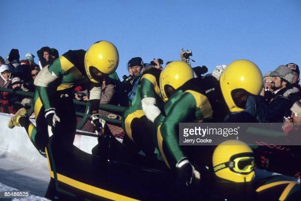 1988 Winter Olympics Jamaica Dudley Stokes Devon Harris Michael White and Nelson Stokes in action during fourman event at at Canada Olympic Park...