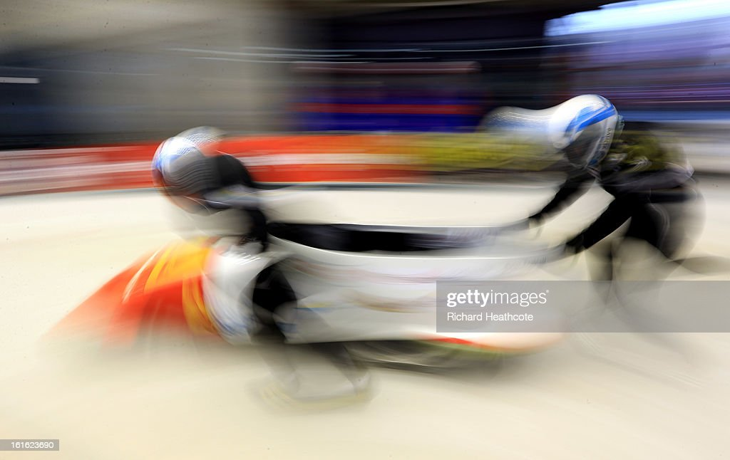 A bobsleigh takes off during a practice run at the Sanki Sliding Centre in Krasnaya Polyana on February 13, 2013 in Sochi, Russia. Sochi is preparing for the 2014 Winter Olympics with test events acroos all the venues.