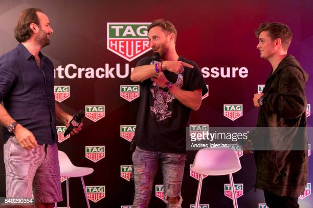 Boby Simms David Guetta Martin Garrix Attends TAG Heuer Press Conference in Ibiza on August 28 2017 in Ibiza Spain