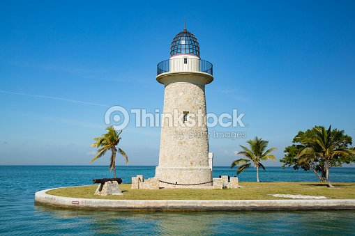 Boca Chita Lighthouse in Biscayne Bay Florida USA. : Stock Photo