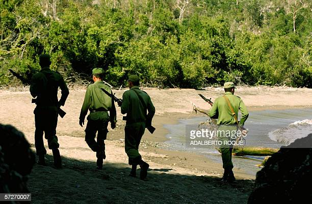 Soldiers of the Cuban Air Force patrol Boca del Toro coast in the Cuban eastern province of Granma searching for drug packages 05 April 2006 The...
