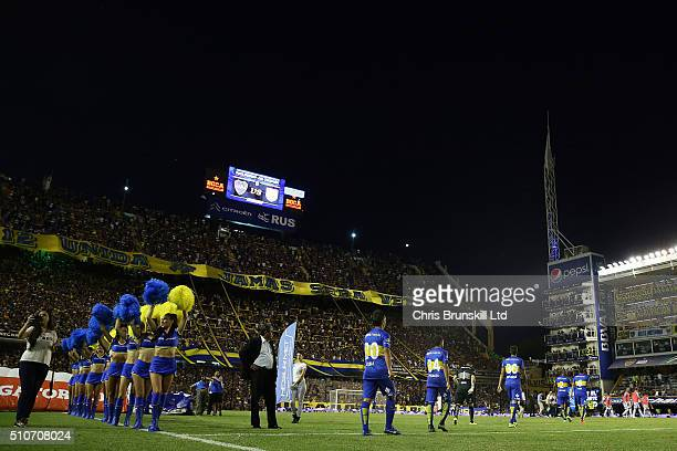 Boca Juniors enter the field ahead of the second half during the Argentine Primera Division match between Boca Juniors and Atletico Tucuman at the...