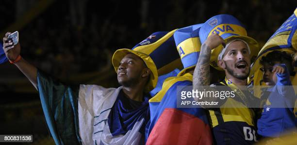 Boca Juniors' forward Dario Benedetto celebrates after they defeat Union and win Argentina's first division football championship at La Bombonera...