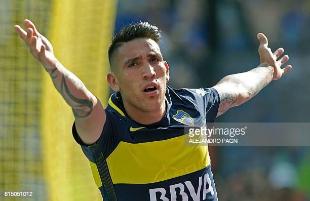 Boca Juniors' forward Ricardo Centurion celebrates after scoring a goal against Sarmiento during their Argentina First Division football match at La...