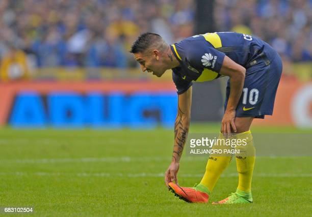 Boca Juniors' forward Ricardo Centurion gestures during the Argentina first division football match against River Plate at the La Bombonera stadium...