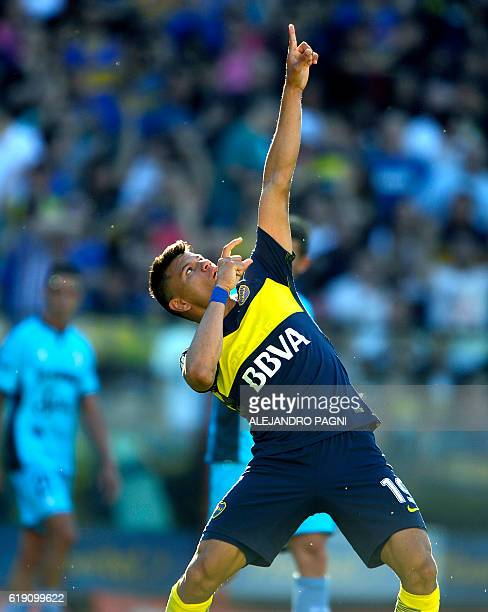 Boca Juniors' forward Walter Bou celebrates after scoring the team's fourth goal against Temperley during their Argentina First Division football...