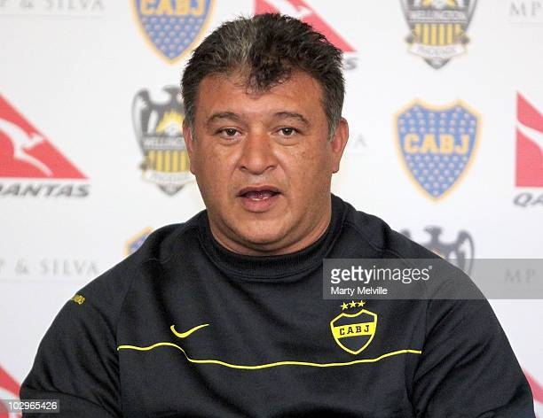 Boca Juniors head coach Claudio Borghi talks to the media during a press conference at the InterContinental Hotel Wellington on July 19 2010 in...