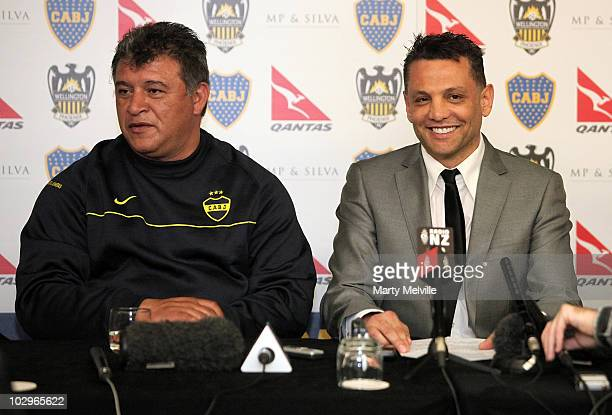 Boca Juniors head coach Claudio Borghi talks to the media with Phoenix owner Terry Serepisos during a press conference at the InterContinental Hotel...