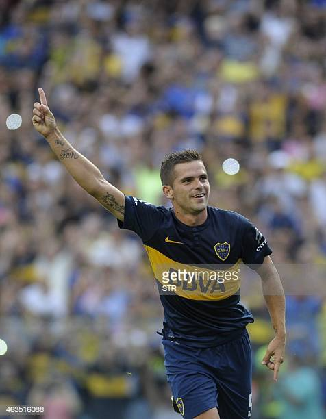 Boca Juniors' midfielder Fernando Gago celebrates after scoring a penalty against Olimpo during their Argentine first division football match at 'La...