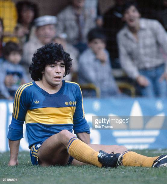 Boca Junior's striker Diego Maradona sits on the ground Argentina League circa 1981