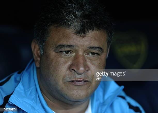 Boca Juniors' team coach Claudio Borghi gestures during their Argentina first division football match against Lanus at La Bombonera stadium in Buenos...