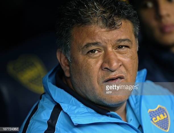 Boca Juniors' team coach Claudio Borghi gestures during their Argentina's first division football match against Velez Sarsfield at La Bombonera...