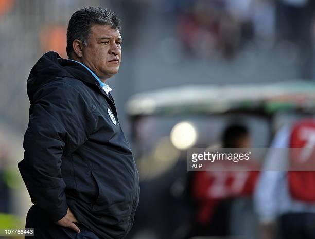 Boca Juniors' team coach Claudio Borghi gestures during their Argentina first division football match against Estudiantes at Centenario stadium in...
