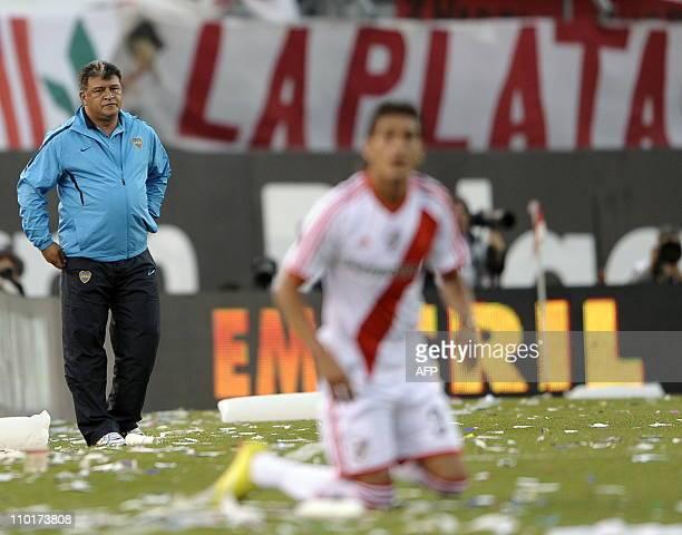 Boca Juniors team coach Claudio Borghi gestures during their Argentina first division football match against River Plate at Antonio Liberti stadium...