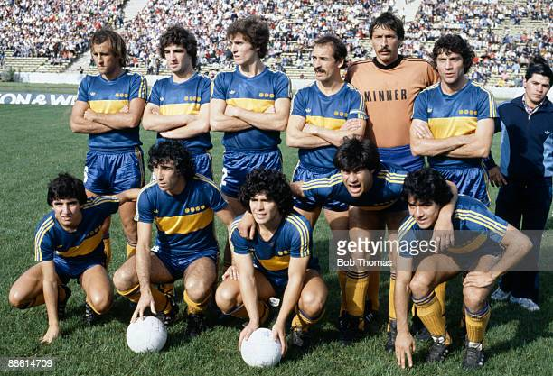 Boca Juniors team group including Diego Maradona before the match Boca Juniors v Talleres in Buenos Aires Argentina in 1981