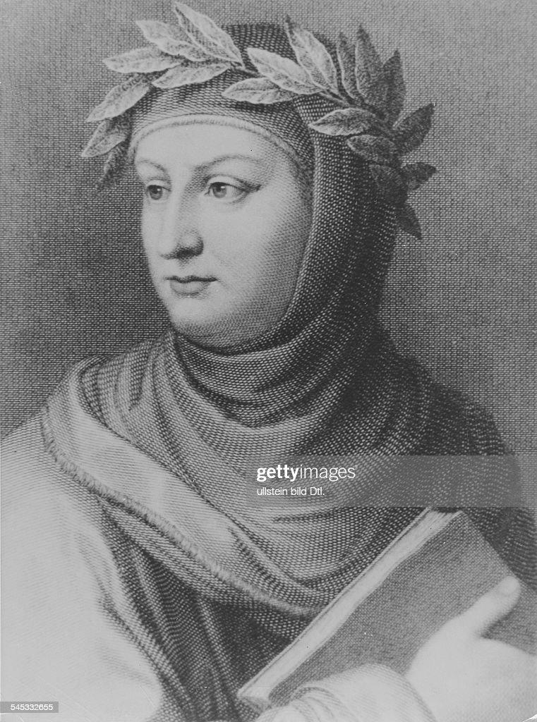 Boccaccio, Giovanni*1313-1375+Schriftsteller, Italien- Portrait, Stich nach einem Gemaelde- undatiert