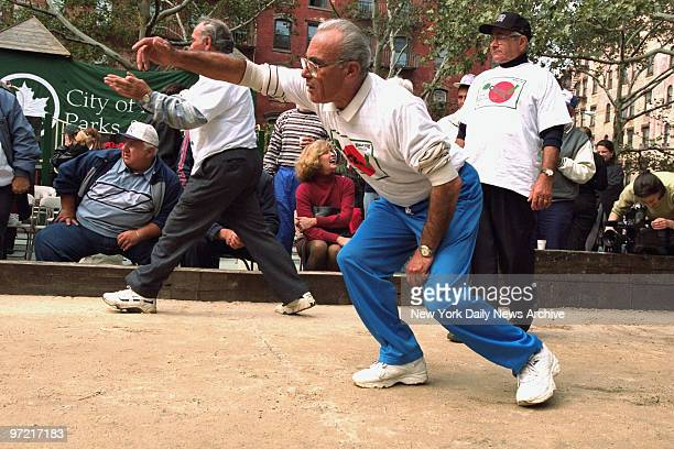 A bocce game between the boros in DeSalvio playground in Little Italy sponsored by a coffee co in honor of Columbus Day Dominico Iannitti of the...