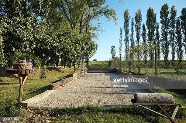 Jeu de Bocce, le jeu dans le delta de la rivière dans la campagne Po